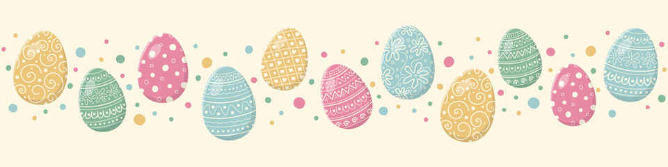 Easter composition with decorative eggs. Banner. Vector