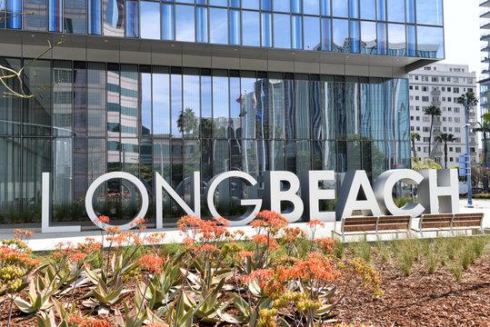 LONG BEACH, CALIFORNIA - 06 MAR 2020: Long Beach sign at the Civic Center on Ocean Boulevard.