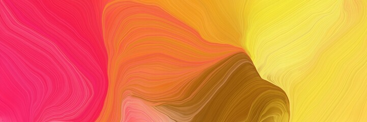 Fotorollo Rotglühen landscape orientation graphic with waves. smooth swirl waves background illustration with tomato, pastel orange and golden rod color
