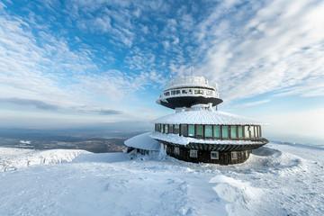 Fototapeta Winter landscape of Sniezka mountain in Poland obraz