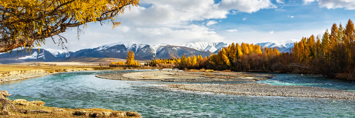 Panoramic view of mountain landscape with river and autumn trees