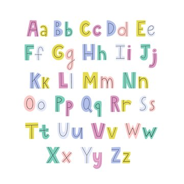 Colorful hand drawn alphabet with lowercase and uppercase letters