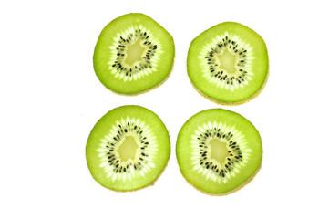 Wall Mural - fresh cut kiwi fruit isolated on white background