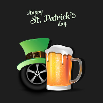 Happy St. Patricks day and car wheel