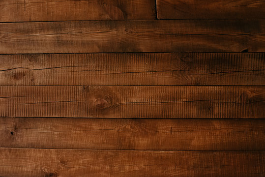 Close up plank wood table floor with natural pattern texture. Wooden board background with copy space.