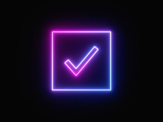 Blue and purple neon light icon isolated in black background. Vibrant colors, laser show. 3d rendering - illustration.