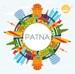 Wall Mural - Patna India City Skyline with Color Buildings, Blue Sky and Copy Space.