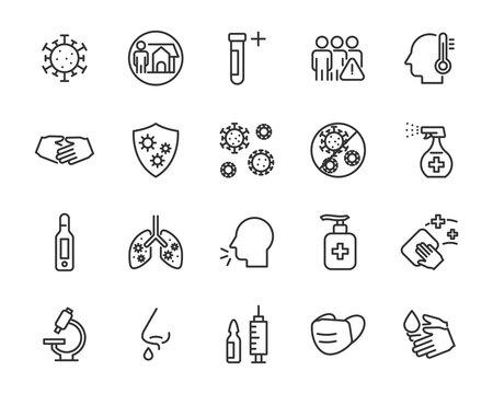 set of coronavirus icons, virus, ncov-2019, disease, sickness, illness