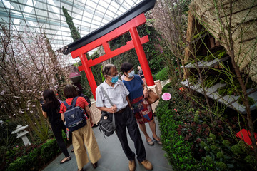 Visitors wearing face masks as a preventive measure against the coronavirus disease (COVID-19) outbreak look at a scale model of a traditional Japanese Gassho-style farmhouse at the Flower Dome of Gardens by the Bay in Singapore