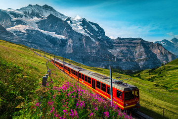 Electric passenger train and snowy Jungfrau mountains in background, Switzerland