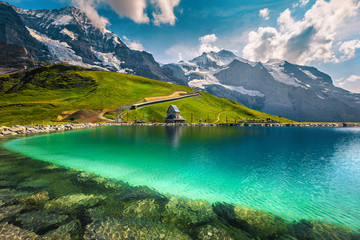 Wall Mural - Turquoise lake and high mountains with glaciers, Bernese Oberland, Switzerland
