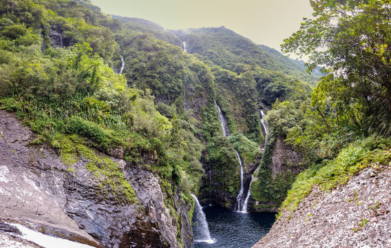 Beautiful wtaerfall of Reunion Island Takamaka