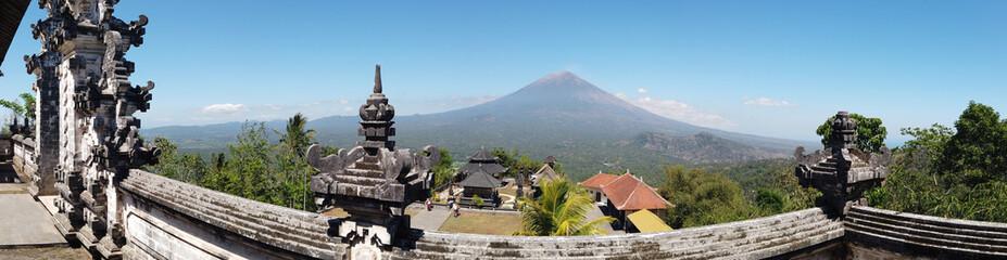 Beautiful panoramic view of volcano peak from Lempuyang temple