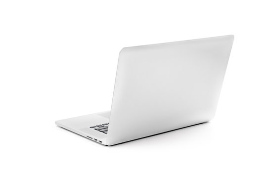 Laptop gray metalic sliver colour notebook in backside view open cover on the white background. Clipping Path.