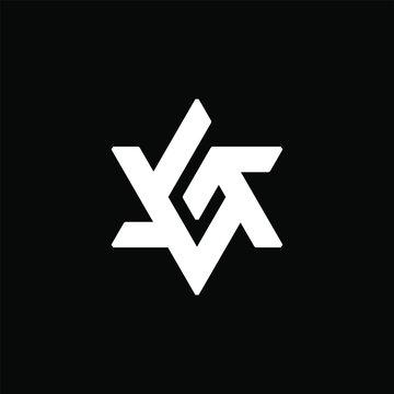Initial letter G logo template with david star shape illustration in flat design monogram symbol