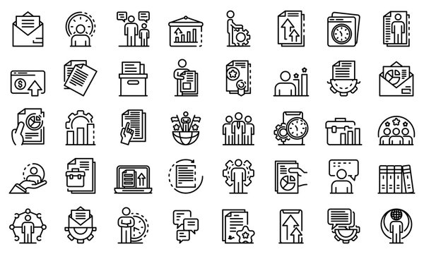Office manager icons set. Outline set of office manager vector icons for web design isolated on white background