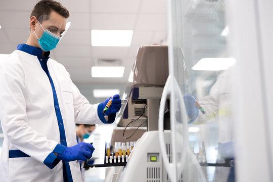 Researcher doing molecular allergy diagnostics in laboratory