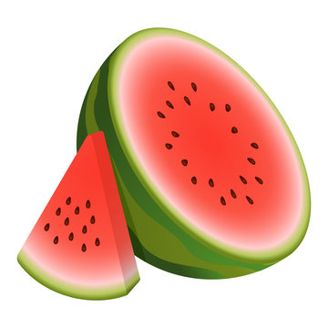 Vector two pieces watermelon. Composition half watermelon and triangular slice watermelon. Cute Vector illustration gradient fill isolated on white background, cartoon logo and icon. Concept of