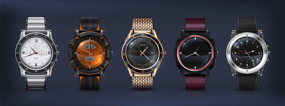 Realistic wrist watches. 3D classic and modern business watches with chronograph, metal and leather bracelet and different clockworks faces. Vector set style modern men watch