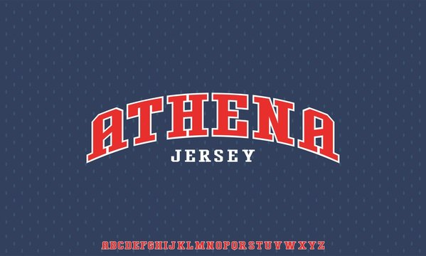 ATHENA BASIC FONT, FOR VARSITY UNIVERSITY COLLEGE DISPLAY FONT  SPORT ALPHABET JERSEY
