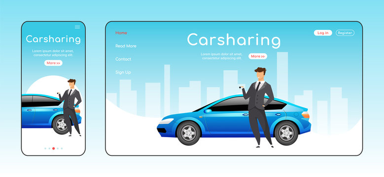 Carsharing responsive landing page flat color vector template. Carpooling service homepage layout. One page website UI with cartoon character. Ride share adaptive webpage cross platform design
