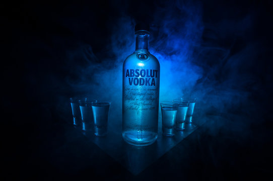 BAKU, AZERBAIJAN - FEB 09, 2020: Absolut Vodka is a brand of vodka, produced near Ahus, in Sweden. Owned by French group Pernod Ricard it is one of the largest brand of alcoholic spirits in the world.