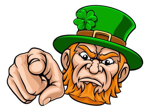 A tough looking leprechaun pointing finger at you mascot cartoon character