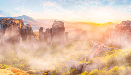 Wall Mural - Landscape with Roussanou Monastery and rock formations at sunset, Meteora, Greece