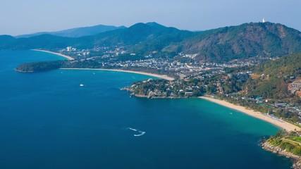Fototapete - Aerial hyperlapse of the coastline of Phuket island in Thailand. Kata Noi, Kata and Karon beaches are in the frame