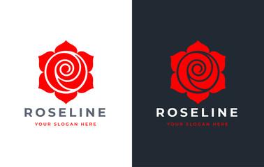 Red Rose logo design Wall mural