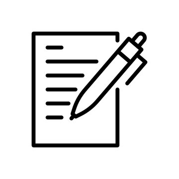 writing icon. Flat vector graphic in white background.