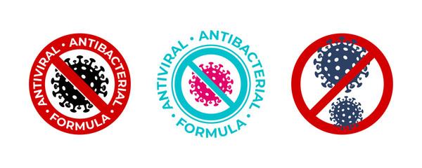 Antiviral antibacterial coronavirus formula vector icons. Coronavirus 2019 nCov, Covid 19 NCP virus stop signs, health protection labels Fotobehang
