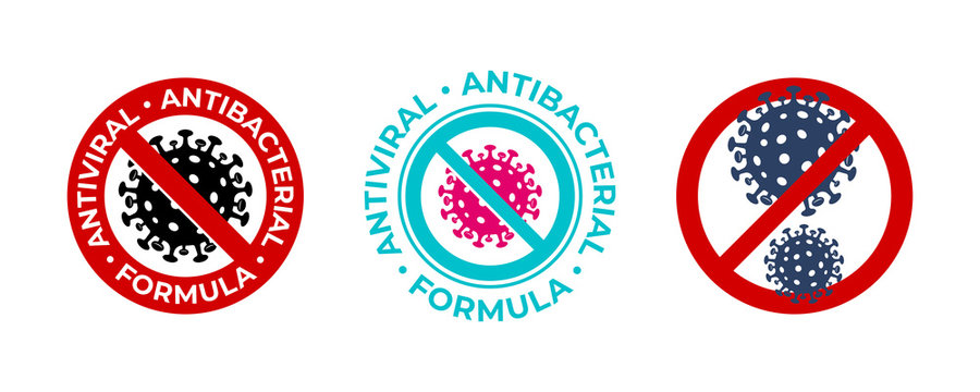 Antiviral antibacterial coronavirus formula vector icons. Coronavirus 2019 nCov, Covid 19 NCP virus stop signs, health protection labels