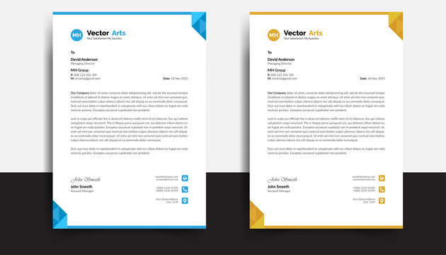 Business style letterhead template design with blue and orange color