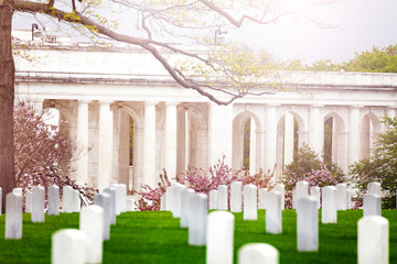 Fototapete - Memorial Amphitheater and military cemetery graveyard tombstones at spring