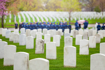 Fototapete - Military cemetery and burial procession with soldiers on background