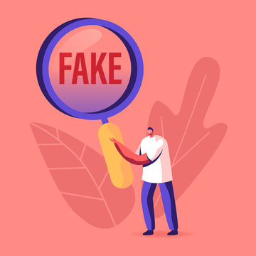 Social Media Forgery Information Concept. Male Character with Huge Magnifying Glass Looking on Fake News Typography. People Blabber, Read False Info, Spreading Scandals. Cartoon Vector Illustration