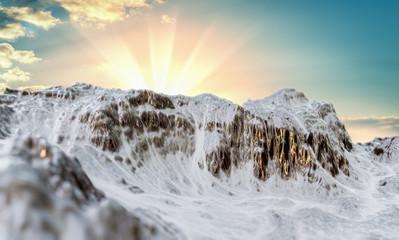 Printed kitchen splashbacks Beige Snowy Mountains peaks on sky background