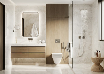 Obraz 3d modern bathroom with wooden and white marble details - fototapety do salonu