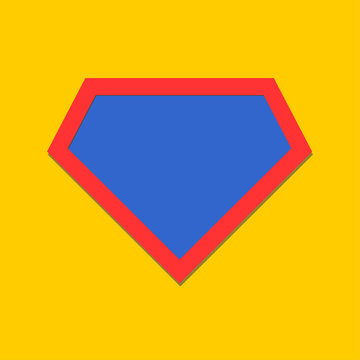 Comic hero icon, symbol shield. Isolated vector on yellow background