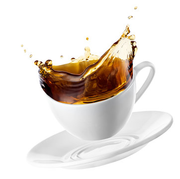 cup with tea splash