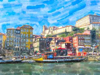 Cityscape of Porto in portugal with Douro river and boats.