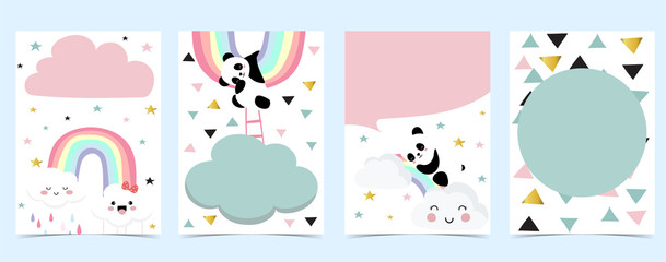Collection of panda background set with cloud, rainbow,balloon.Editable vector illustration for website, invitation,postcard and sticker Fototapete