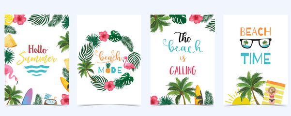 Collection of summer background set with fruit,flamingo,coconut tree.Editable vector illustration for New year invitation,postcard and website banner Fotomurales