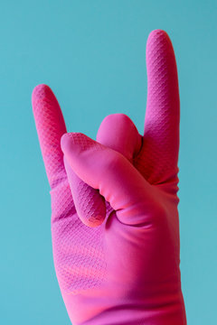 Hand with cleaning glove. Hand With Cleananing Glove. vertical photo