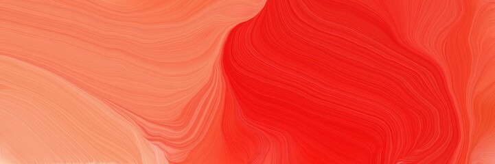 Fotorolgordijn Rood landscape banner with waves. smooth swirl waves background design with crimson, light salmon and coral color