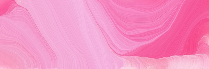 Poster Candy pink landscape banner with waves. modern curvy waves background illustration with pastel magenta, pale violet red and hot pink color