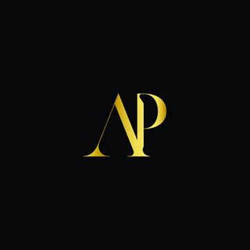 AP alphabet letter icon logo design