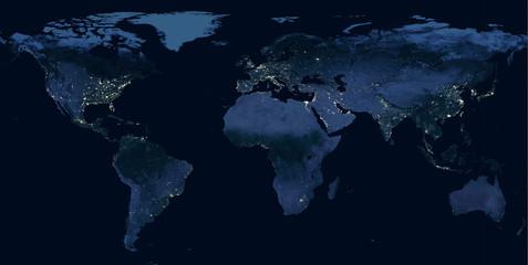 Papiers peints Europe du Nord Earth at night, view of city lights showing human activity in North America, Europe and East Asia from space. Elements of this image furnished by NASA.
