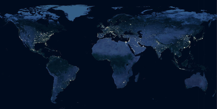 Earth at night, world map with city lights showing human activity in North America, Europe and East Asia from space. Elements of this image furnished by NASA.
